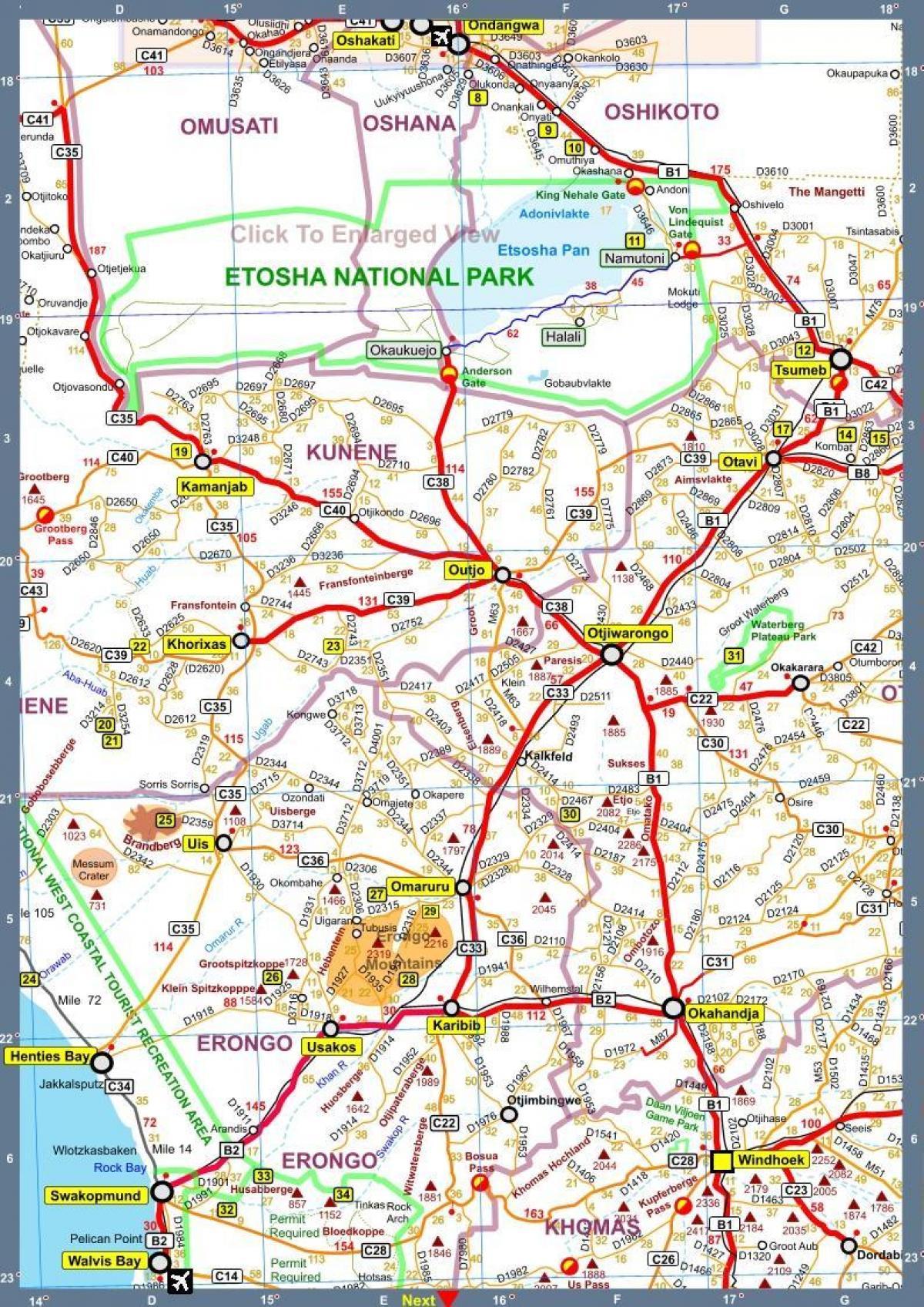Karta Och Avstand.Namibia Karta Med Avstand Namibia Road Karta Med Avstand Sodra